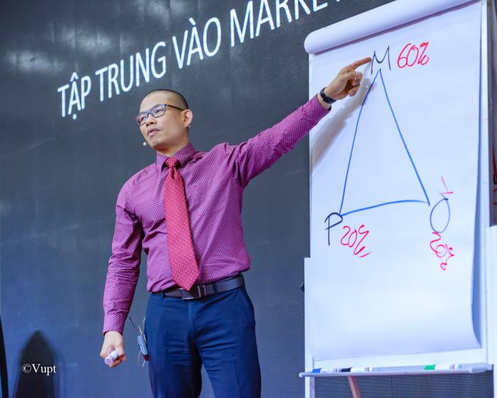 Luật sư Phạm Thành Long tại một chương trình đào tạo đội nhóm
